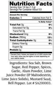 Charlie's Spicy Fish NUTRITIONAL TAB